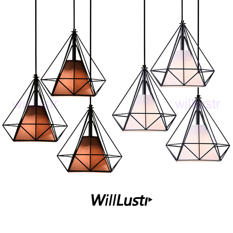Willlustr diamond shape lamp wrought iron pendant light metal frame fabric Suspension lighting Dinning Room Bar Cafe Restaurant nordic wrought iron simple modern pendant lamp with led bulb dinning room light cafe lamp e27 110v 220v free shipping