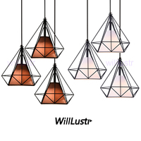 Willlustr diamond shape lamp wrought iron pendant light metal frame fabric Suspension lighting Dinning Room Bar Cafe Restaurant