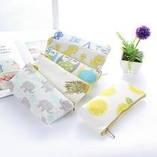 Cute simple pencil case linen school pen box kawaii pattern bag office stationery