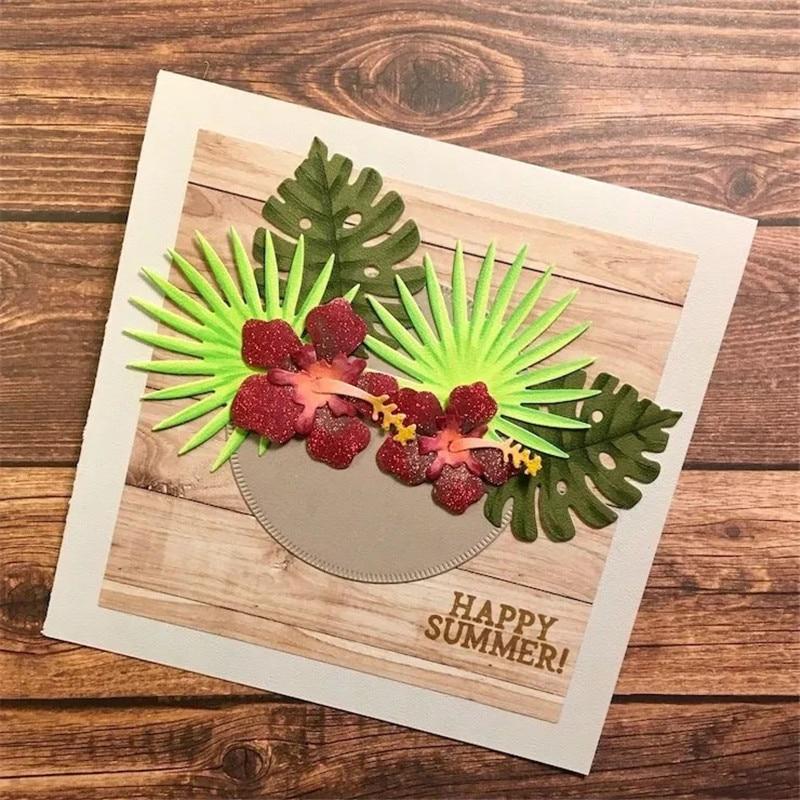 YaMinSanNiO Tropical Florals meurt feuilles fleurs métal coupe matrices pour Scrapbooking carte faisant gaufrage nouveau 2019 artisanat découpe