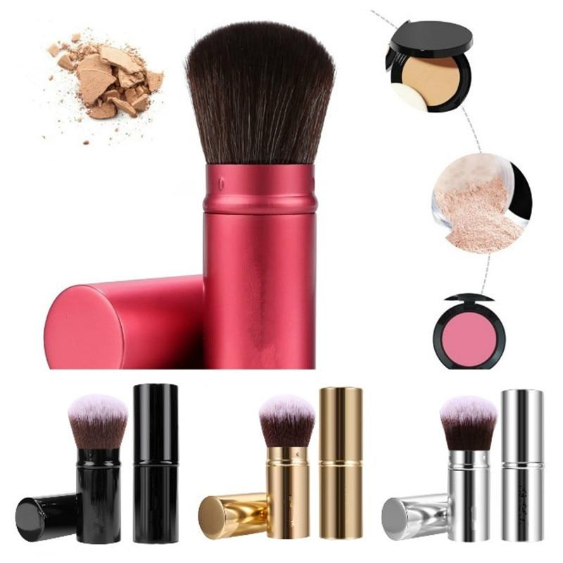 1 Pcs Retractable Makeup Brush Foundation Loose Powder Blush Synthetic Hair Soft Cosmetic Brush Face Contour Make Up Brush Tool retractable cosmetic make up powder brush pink