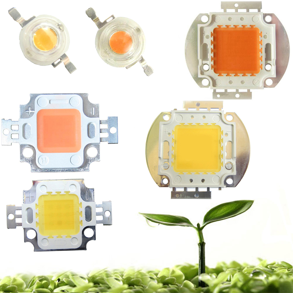 High Power 45mil 3W 10W 20W 30W 50W 100W Full Spectrum 400~840nm White Full Spectrum 380-780nm LED Grow Light Diodes Bulb Part