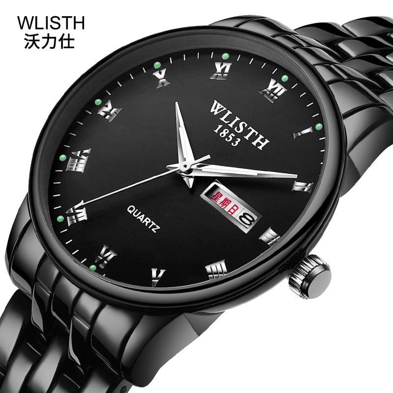 Amantes de Relógios de Quartzo de Aço Completo dos Homens de Negócios à Prova Água para Mulheres Moda de Luxo Wlisth Marca Relógios Casal d' 2020 Preto Relógio Top