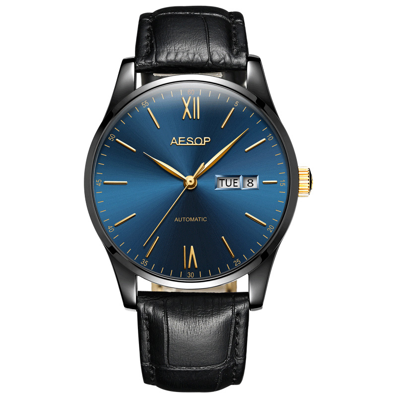 AESOP Business mens watches top brand luxury Minimalist Thin Black hours Blue face Male Clock Genuine