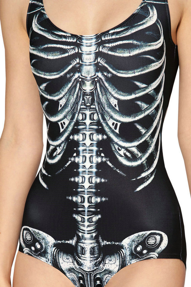 New Sexy Black White Skeleton Swimsuit One Piece For Women Halloween Active SKull White Swimwears S To XL 6 Patterns
