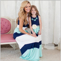 2017 Mother Daughter Dresse Family Matching Clothes Striped Mom And Daughter Dress Family Look Outfits Kids
