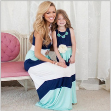 2017 Mother Daughter Dress Family Matching Clothes Striped Mom and Daughter Dress Family Look Outfits Kids Parent Child Outfits