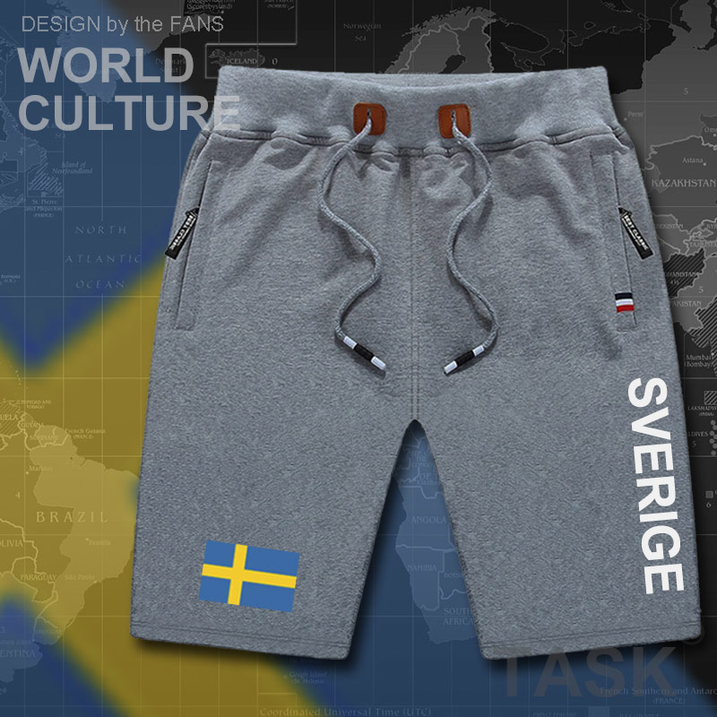 Sweden Sverige Mens Shorts Beach New Men's Board Shorts Flag Workout Zipper Pocket Sweat Letter Clothing 2017 Swedish Swede SE
