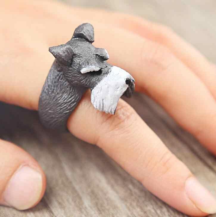 Высокое качество 1 шт. модные серые кольца для собак 3D палец милые модные кольца для животных для женщин очаровательные ювелирные изделия лучший подарок