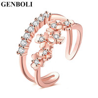 Alloy Jewelry Western Rhinestone Clover Rings Double Line Resizable Zircon Ring Open Rings Gift For Women New Arrivals
