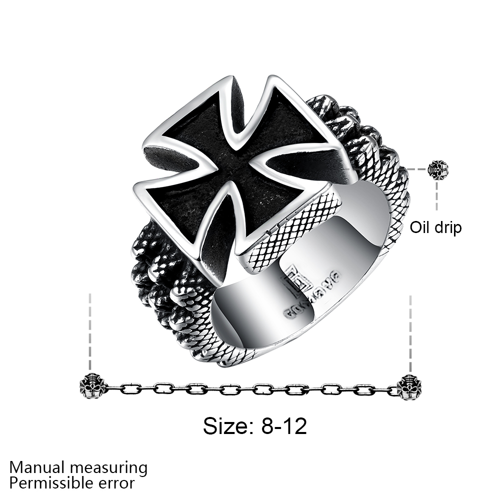 316L stainless steel cross design men personality finger ring size 8-12 # cool punk street style Top Quality Free Shipping R224