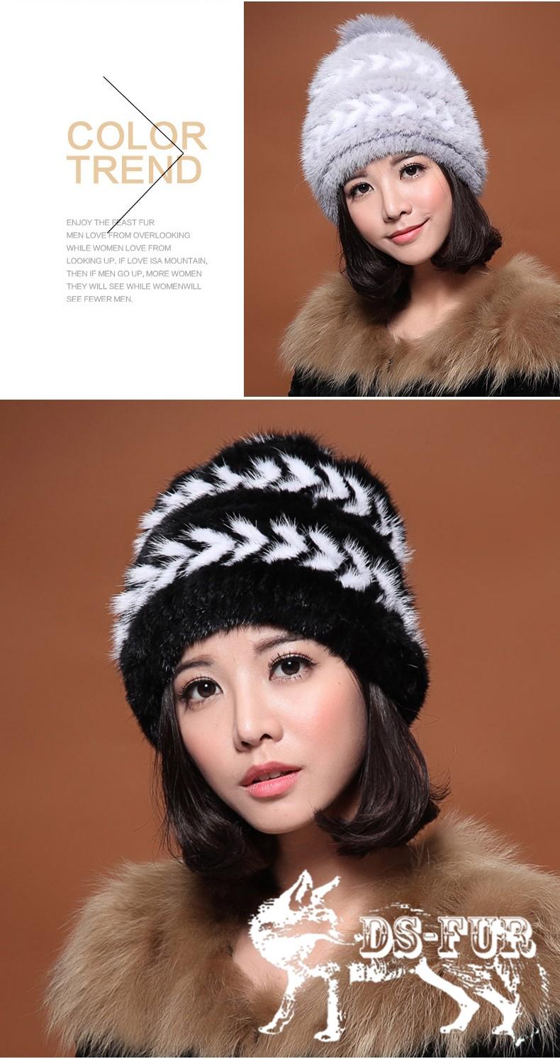 Real mink fur hat double arrow horizontal stripes 03