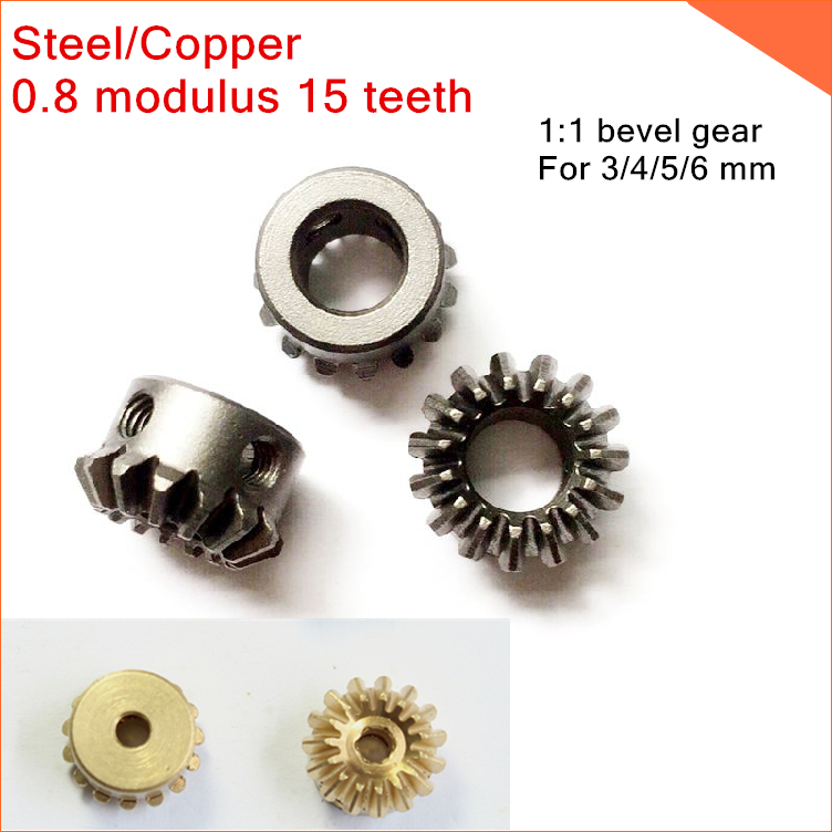 (2 piece) Steel/Copper 0.8M 15T  0.8 modulus 15 teeth,1:1 bevel gear,angle gear For 3/4/5/6 mm M3