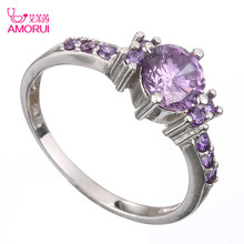 AMORUI Purple AAA Cubic Zircon Rings for Women Silver Color Wedding Rings Female Cute Lovers Crystal Ring Jewelry Bijoux Gift