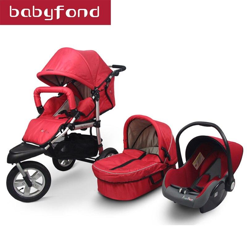 3 en 1 poussettes bébé poussette voiture Suspension pliante plus chargée y compris panier de couchage et siège de voiture landau de voyage