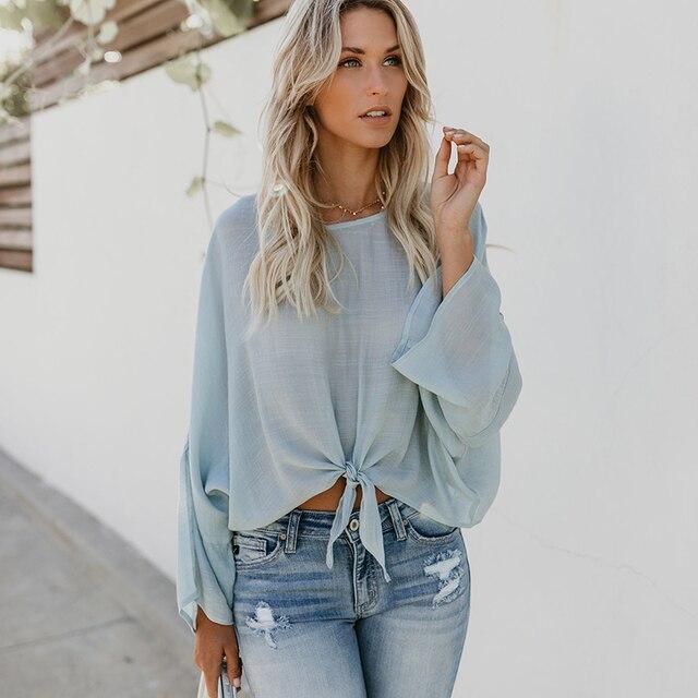 4c5b94f208e Women Casual Loose Blouse O-Neck Solid Long Sleeve Blouse Shirt Elegant  Office Ladies Plain Color Tops Streetwear Chemise Femme