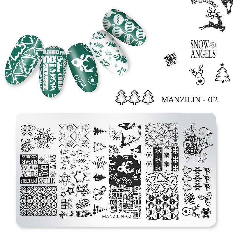1 PC Nail Art แสตมป์ Tenplate คริสต์มาส Templates 12x6 ซม.ฤดูหนาว Nail Art Stamping แผ่น