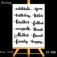 ZhuoAng Birthday greeting Transparent and Clear Stamp DIY Scrapbooking Album Card Making Decoration