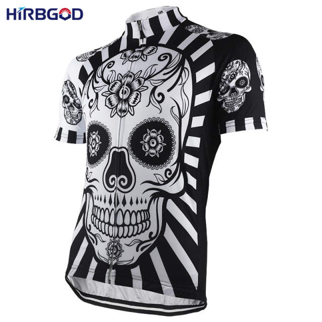 placeholder HIRBGOD Flower Skull Print Mens Cycling Jersey Short Sleeve  Summer You Never Ride Alone Bike Shirt d1f987e68