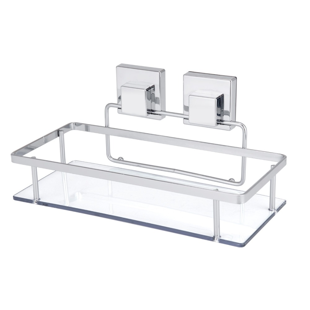 Suction Cup Storage Shelf Shampoo Shower Bathroom Toilet Kitchen Wall Holder Basket Plastic Transparent Accessories