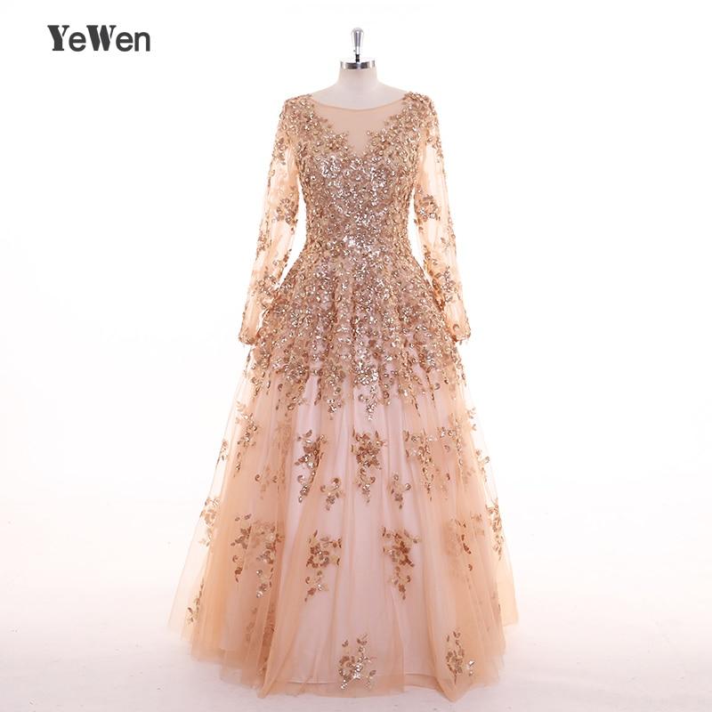 Gold Sequin   Evening     Dress   Plus Size Crystal 2019 Long Sleeves Saudi Arabia Ball Gown Gown De Fiesta