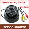 Free Shipping To RU 2013 Newest Most Popular Surveillance Audio 700tvl 420 600TVL Color IR Indoor