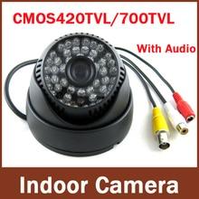Newest most popular Surveillance Audio 700TVL Color IR Indoor Dome CCTV   Security Camera