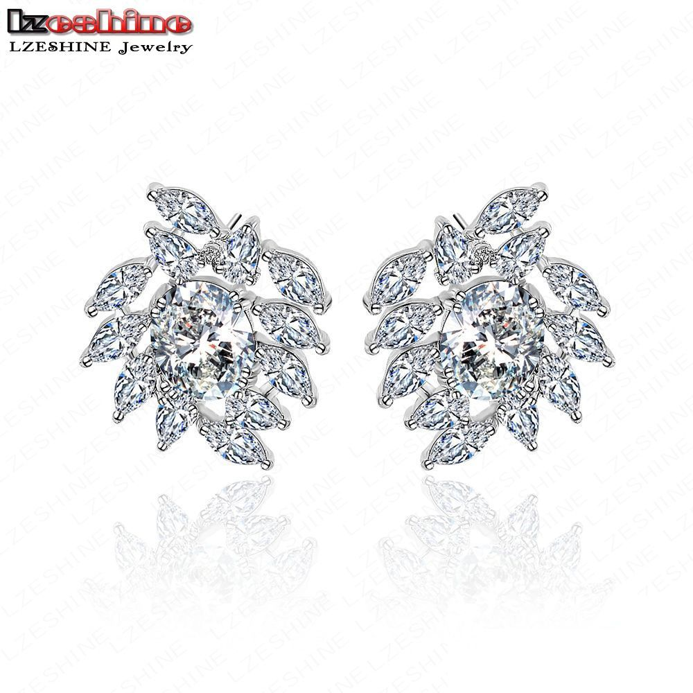 Lzeshine Big Promotion Ladies Earrings Stud Platinum Plated With Cubic  Zirconia Cluster Bothemia Earrings For 2016