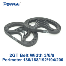 POWGE 10 шт. 2GT синхронный резиновый ремень длина 186 188 192 194 200 ширина 3/6/9 мм зубы 93 94 96 97 100 в закрытых GT2 синхронный ремень