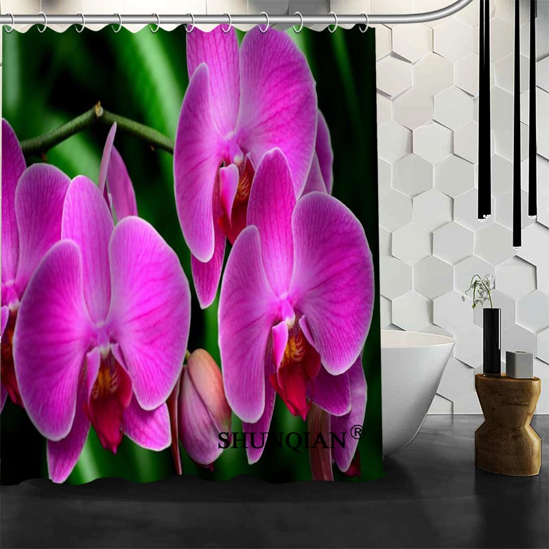 Custom Orchid Flower Shower Curtain High Quality bathroom Accessories Bath screens Customized curtain