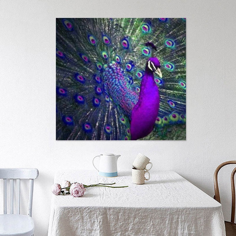 Peacock Decor Full-Drill DIY 5D Diamond Painting Embroidery Cross-Stitch Home