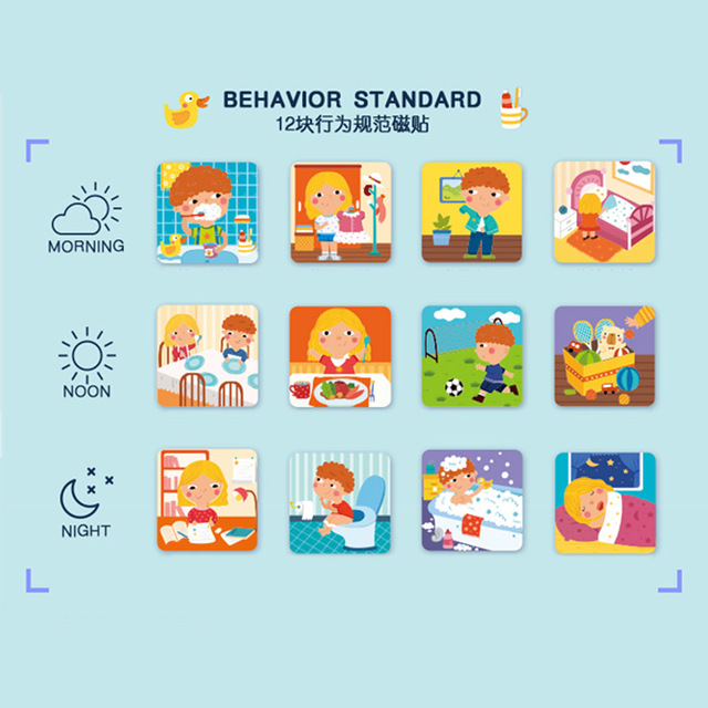 Kids Wooden Magnetic Montessori Material Educational Toys For Children Multifunction Behavior Sheet Clock Calendar oyuncak