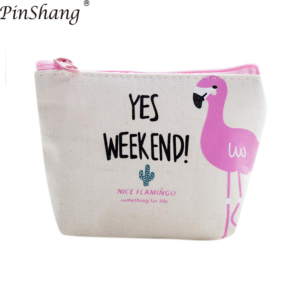 Pink Flamingos Exotic Birds Pattern Canvas Change Coin Purse Small Cute Money Bag With Zip