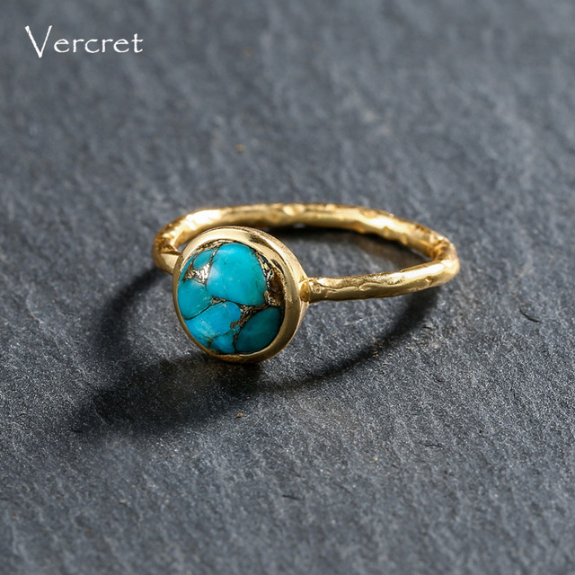 Delicate Turquoise Ring Gold Plated Sterling Silver 3