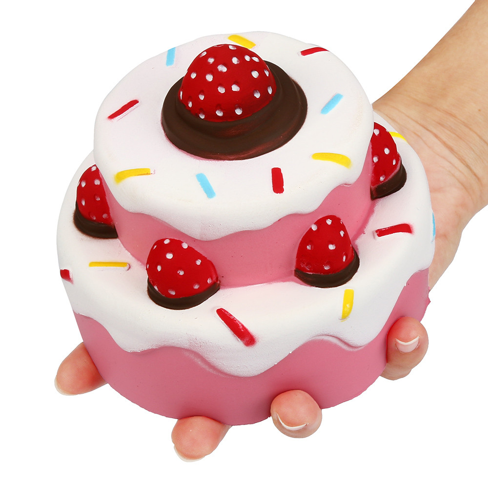 Relax Toy Squishies Soft Scented Interesting 11.5cm Jumbo Strawberry Cake Scented Super Slow Rising Kids Toy Soft Cute D300112 Agreeable Sweetness Squeeze Toys