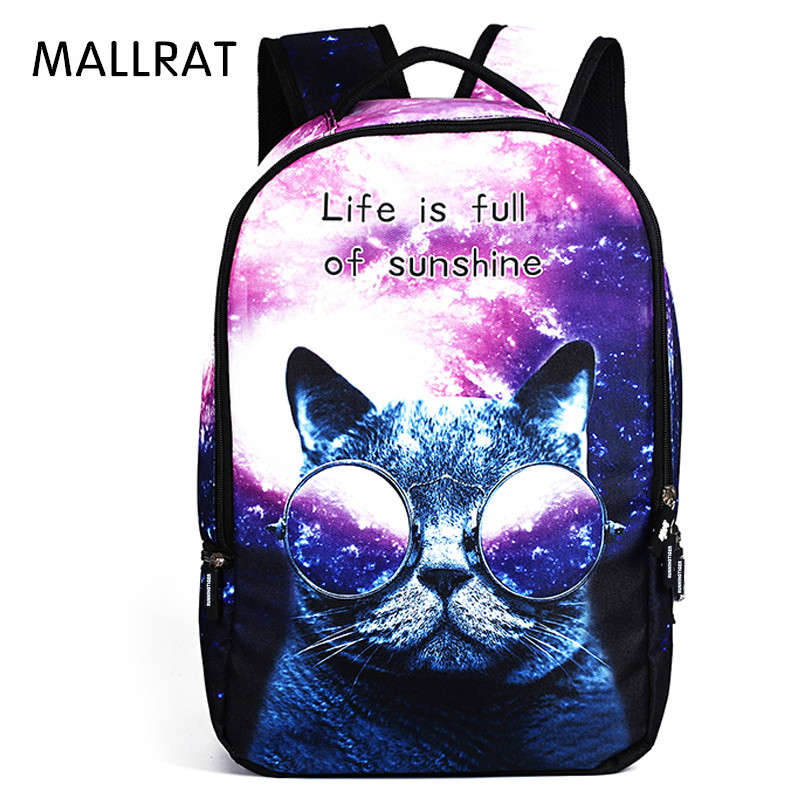 MALLRAT Women School Bag for Teenager 3D Cartoon Cat School Backpack Bag For Girls Printing Backpack Travel Bags women backpack 2016 solid corduroy backpack simple tote backpack school bags for teenager girls students shoulder bag travel bag