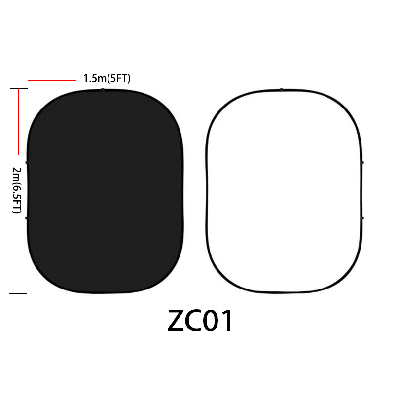 Mehofoto noir et blanc Double face cabine Photo toile de fond mat panneau photographie fond pliable