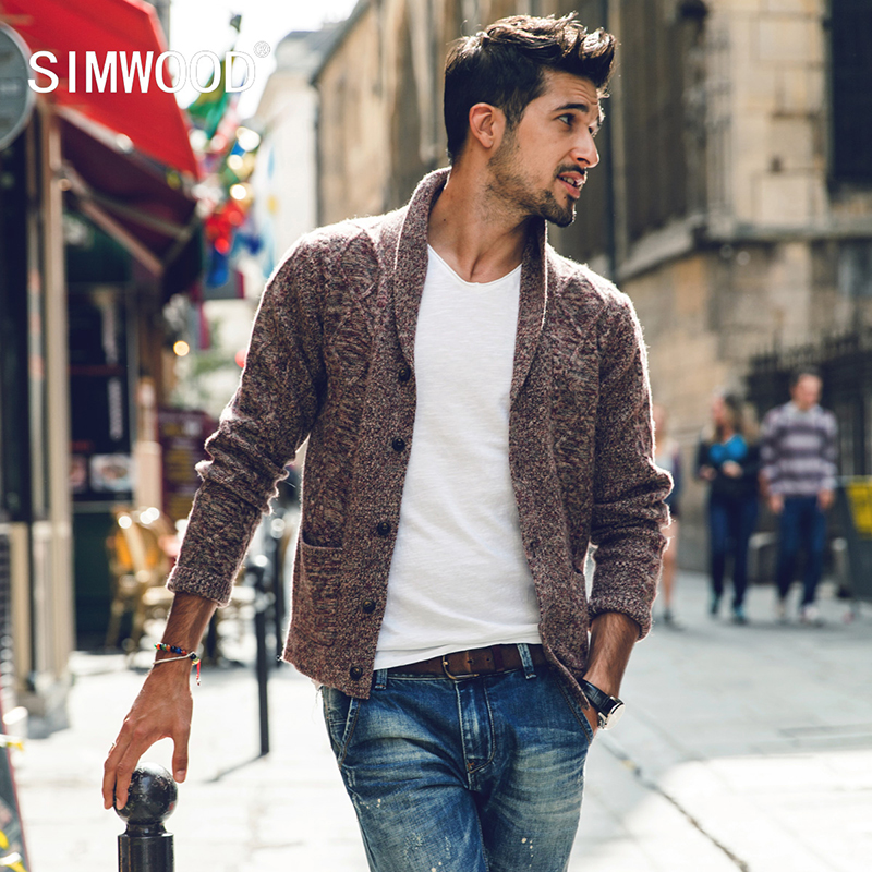 Buy Simwood Sweater Men 2017 New Brand Autumn Winter Turn Down Collar Knitted