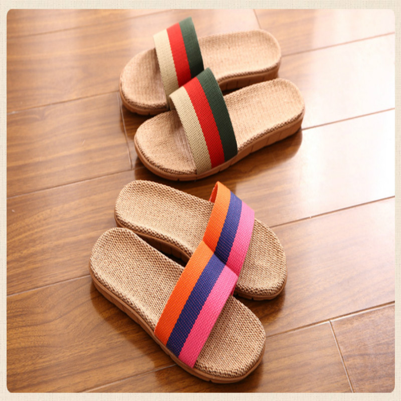 2016 Spring and summer home flax slippers men slippers sandals heavy-bottomed non-slip floor home indoor shoes hot sale slippers 2 color men home slippers plaid linen slippers indoor bedroom sandals couple floor shoes spring and summer