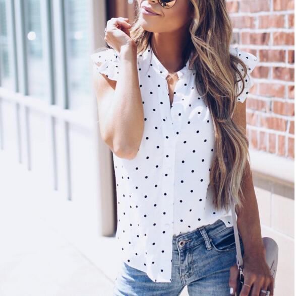 Women summer 2018 Polka Dot Blouse Shirts Short Sleeve ruffle Shirt WS7903E