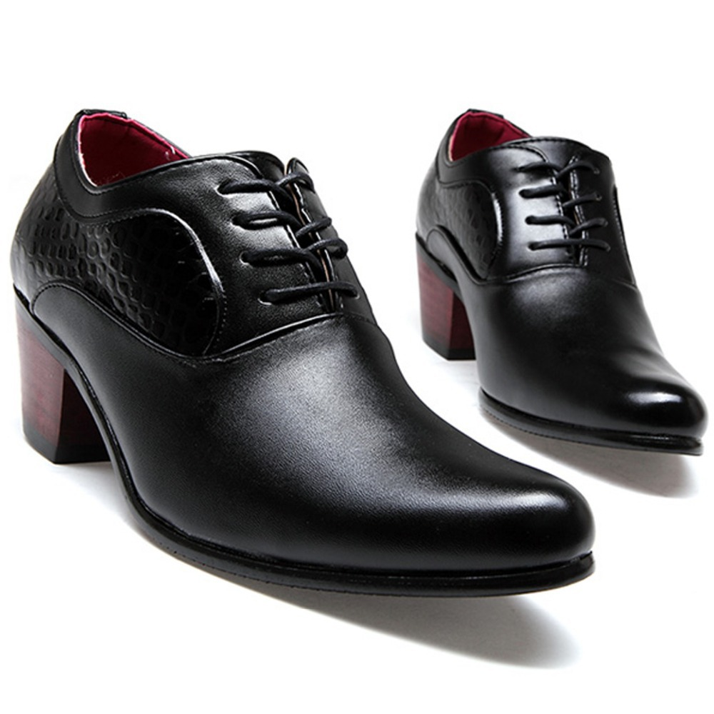 7685b45d266e Italian Fashion Men Patent Leather High Heels Dress Shoes Slim Pointed Toe  Oxfords Wedding Party Shoes High Increasing Quality-in Women s Flats from  Shoes ...