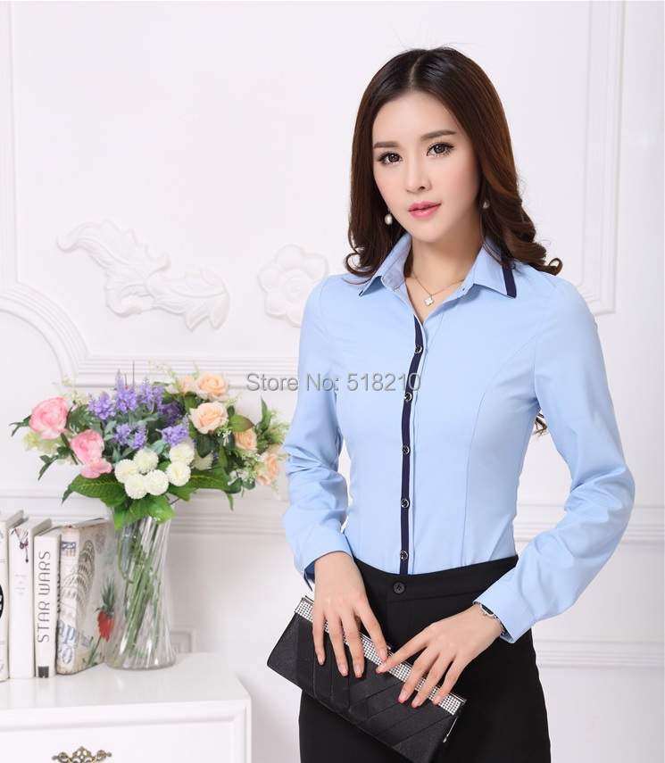 New fashion rose 2015 fall autumn professional business for Womens work shirts uniforms