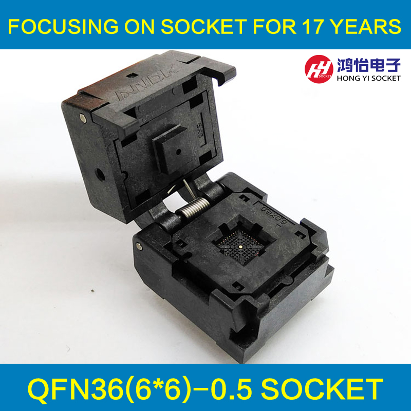 QFN36 MLF36 Burn in Socket IC Test Socket IC550-0364-016-G Pitch 0.5mm Chip Size 6*6 Flash Adapter Clamshell Programming Socket qfp176 tqfp176 lqfp176 burn in socket pitch 0 5mm ic body size 24x24mm otq 176 0 5 06 test socket adapter