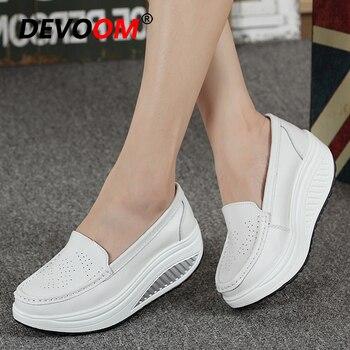 Mocasines de piel auténtica para mujer, mocasines de enfermera, nueva moda 2019, zapatos mocasines planos para mujer, zapatos antideslizantes para dar forma al cuerpo