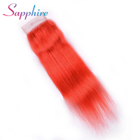 Sapphire Brazilian Orange Color Straight Lace Closure Remy Hair 4 4 Middle Free Three Part Top