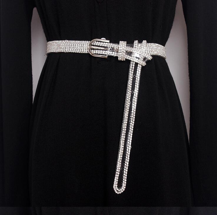 Women's Runway Fashion Blingbling Diamonds Pvc Cummerbunds Female Dress Corsets Waistband Belts Decoration Wide Belt R1633