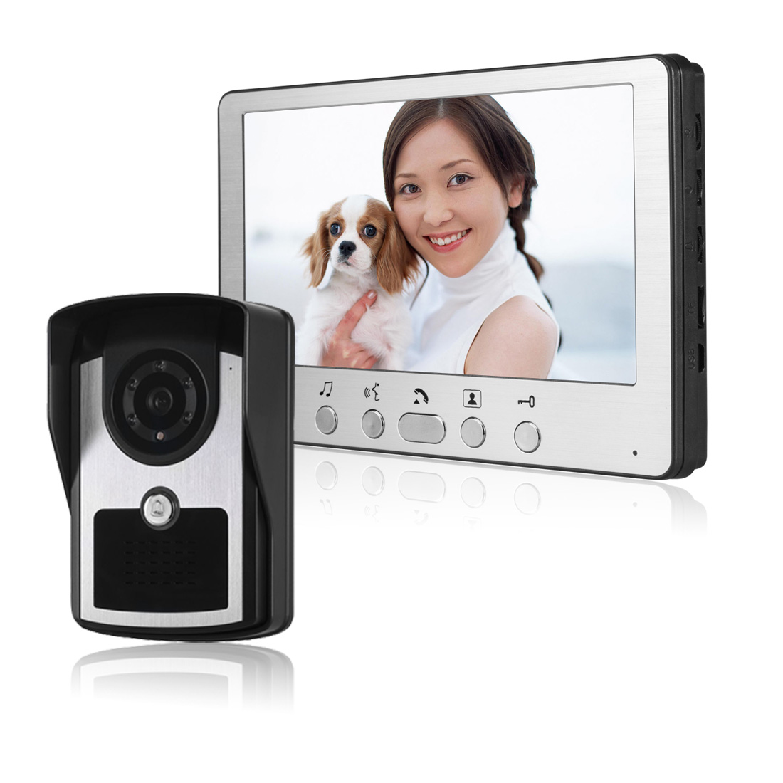FREE SHIPPING NEW Wired 7 Color Screen Video Door Phone Intercom System + IR Night Vision Outdoor Doorbell Camera Home Security free shipping new handheld 4 3 inch color tft video door phone doorbell intercom night vision door bell camera 2 screen in stock