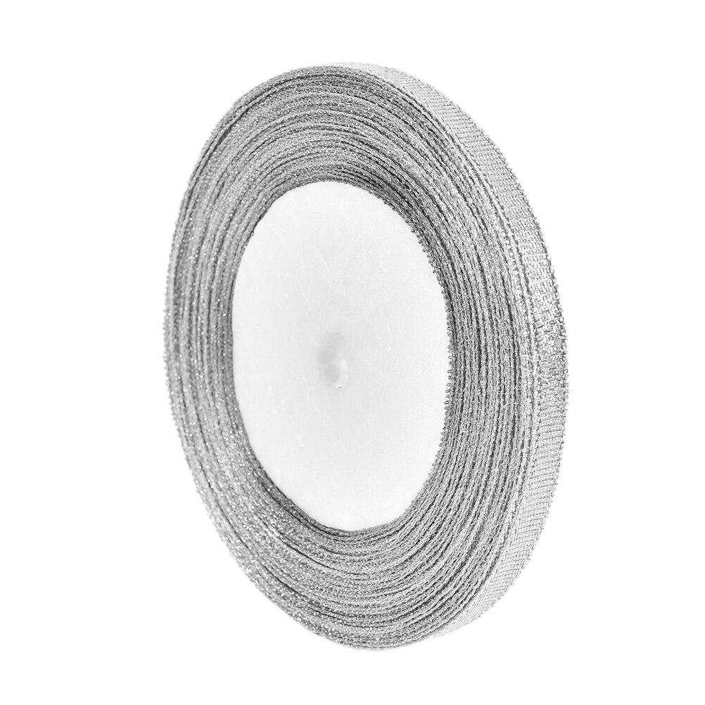 25 ярдов DIY вечерние домашний Шелковый подарочная упаковка атласная лента Материал украшения серебро/золото 6 мм