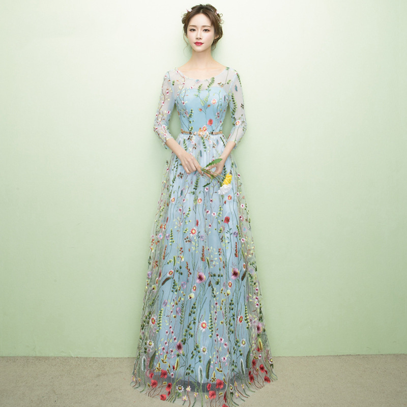 Summer Women Party Floral Dress O Neck Maxi Dresses Elegant Stage Performance Robe Gowns Female Beach