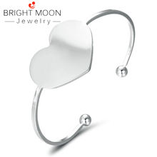 Bright Moon Trendy Lover Cuff Bracelets Bangles for Woman Sliver Color Stainless Steel Bracelet with Heart Luxury Jewelry